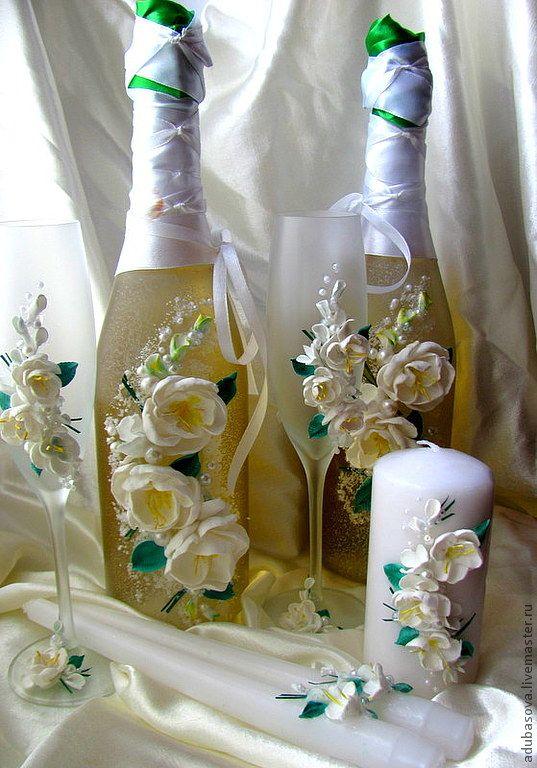 """Купить Свадебный набор """"Жасмин"""" - белый, листики, цветы ручной работы, свадьба 2013, жасмин"""