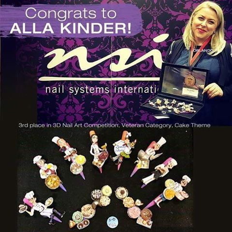 Congratulations to our very own Alla Kinder for winning 3rd place in 3D Nail Art Competition, Veteran Category, Cake Theme! We are so proud and happy for you!
