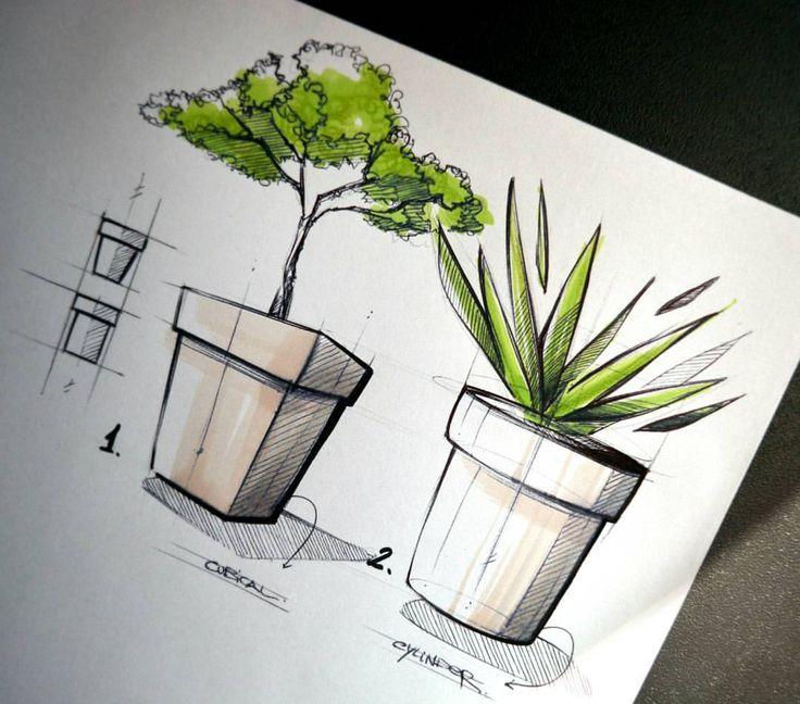 "585 Me gusta, 8 comentarios - Fran Molina (@_franmolina) en Instagram: ""Flower pots!  . . . #sketch #sketching #idsketch #idsketching #draw #drawing #industrialdesign…"""