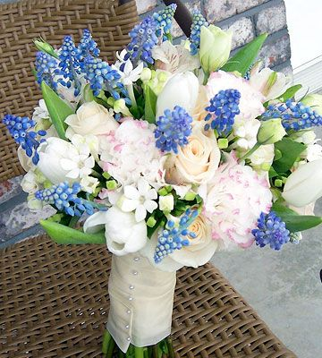 "Something Blue, Grape hyacinths add ""something blue"" to the white roses, tulips, bouvardia, and alstroemeria that make up this bouquet"