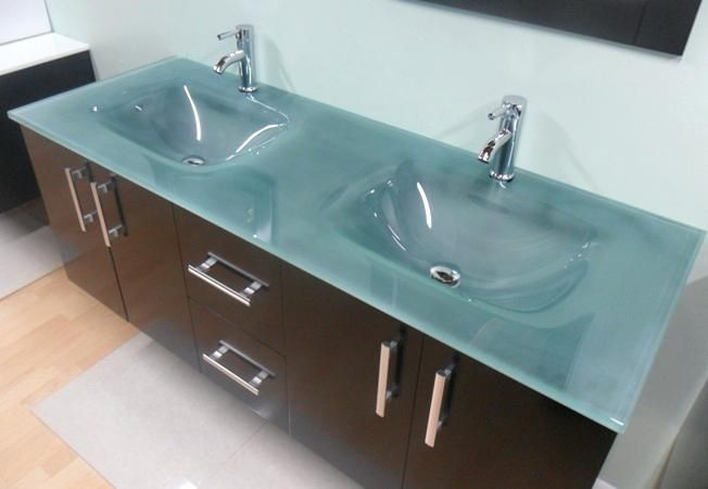 Glass Bathroom Sinks Double Sink Modern Bathroom Vanity Glass Sink