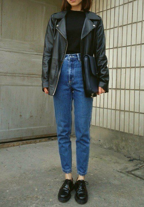 Boxy leather jacket, high-waisted relaxed denim and chunky lace-ups