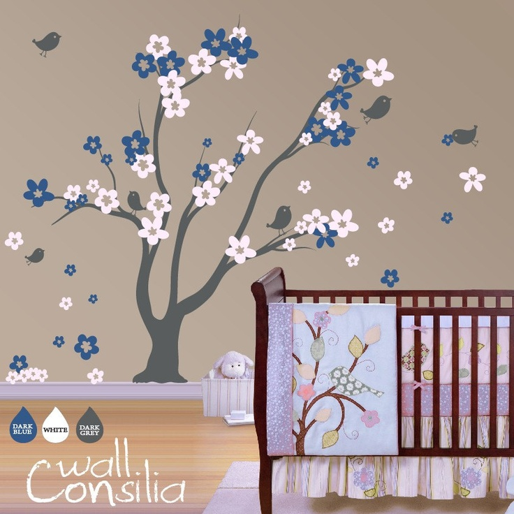Tree Wall Decal Sticker Nursery Blossom With Birds Large Rox X Whole Composition