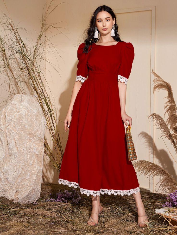 Lace Trim Puff Sleeve A Line Dress Ladies Blouse Designs Vintage Dresses Simple Trendy Outfits