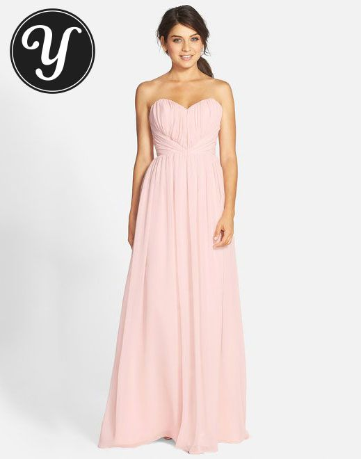 Jim Hjelm Occasions - Strapless soft pink Chiffon Sweetheart A-Line Gown  To see other gowns visit http://yurn.it/profile/yurnit1/board/emmy-inspired-gowns/?t=149160