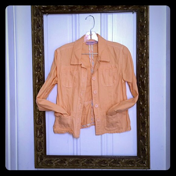 ☆Blazer SALE!!!☆Peachy Keen Jean Style Blazer SZ M Cute spring blazer Jean jacket! gypset #streetstyle #denim #peach #coral #bohemian #boho #hippie #freespirit Periscope Jackets & Coats Jean Jackets
