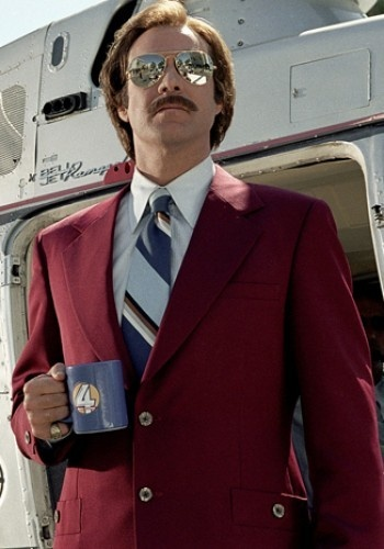 Go for colour in a suit (like Will Ferrell in Anchorman here)  Image via Shortlist