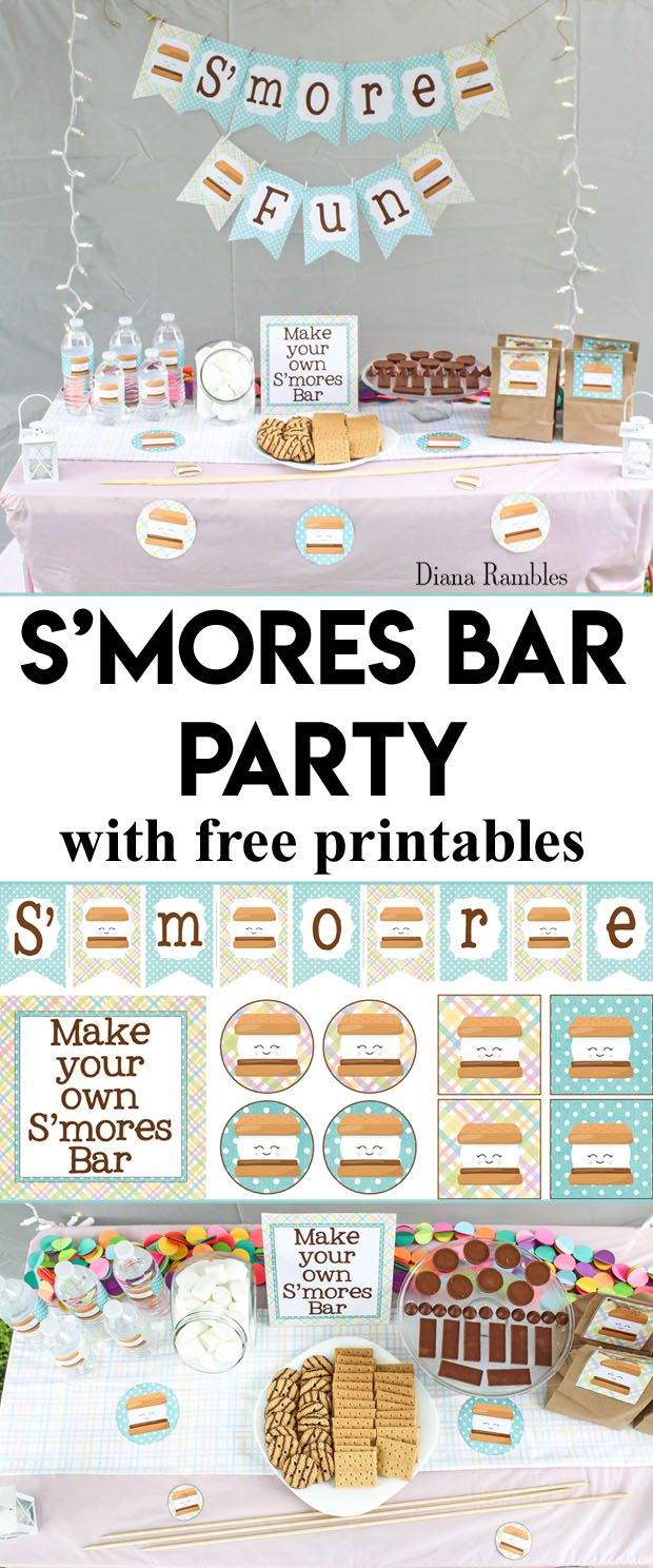 S'mores Bar Backyard Party with Free Printables - Want to throw a backyard party for your child? Host a S'mores themed slumber party using these free printables. Enjoy S'mores and movies under the stars. AD #smores #party #freeprintable