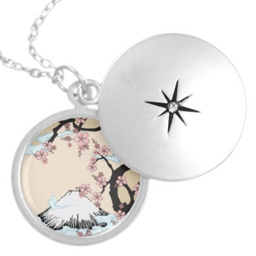 Fuji and Sakura - Japanese Design Necklace