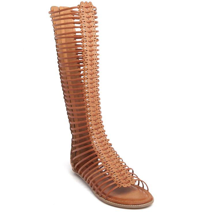 Tobacco flat gladiator multistrap sandal