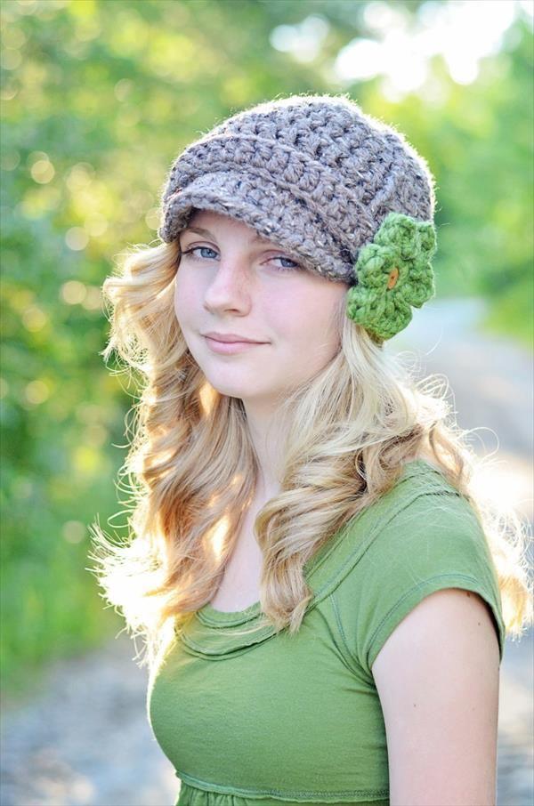 DIY Crochet Brimmed Beanie Hat with Flower   101 Crochet