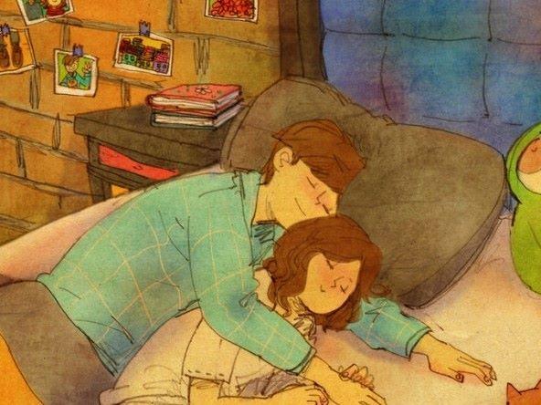 깨우러 왔다가 팔베고 자요.  I tried to wake you up but fell asleep in your arms instead.