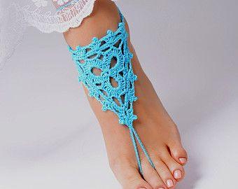 Crochet sandalias Descalzas Aqua, joyería, accesorios de Dama de honor, pies descalzos sandalias, tobilleras, boda, boda en playa, verano zapatos