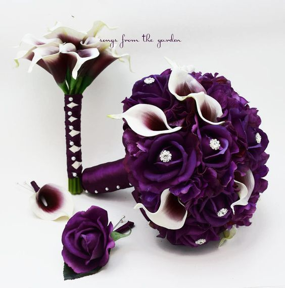 Wedding Package Purple White Real Touch Picasso Callas Roses Hydrangea Rhinestones Bridal Bouquet Groom Best Man