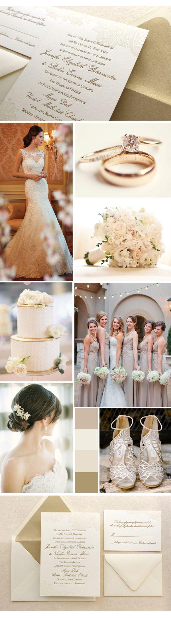 Vintage floral lace, champagne, ivory, gold wedding.