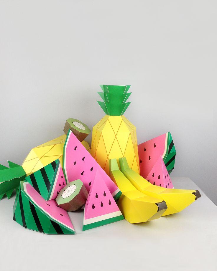 Giant Tropical Fruit Paper Sculpture DIY Kit by Moon Picnic & Mr Printables | moonpicnic.com