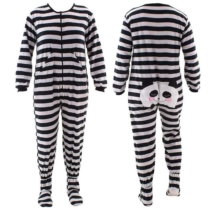 Black Panda Striped Footed Pajamas for Women - Click to enlarge