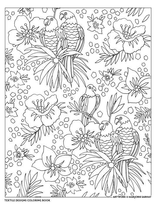 Creative Haven Textile Designs Coloring Book Marjorie Sarnat