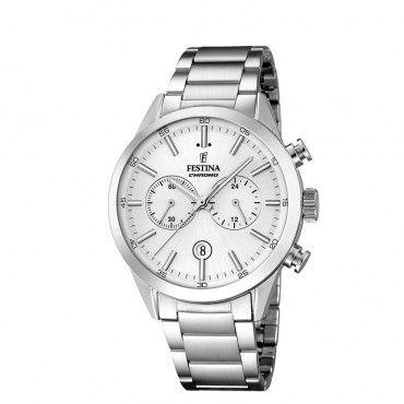 F16826/1 Ανδρικό σπορ quartz ρολόι FESTINA χρονογράφος, με γκρι καντράν & μεταλλικό μπρασελέ | Ανδρικά ρολόγια FESTINA ΤΣΑΛΔΑΡΗΣ στο Χαλάνδρι #Festina #χρονογραφος #λευκο #μπρασελε #ρολοι