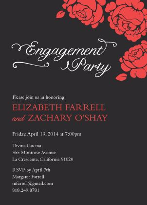 """Black & Red Engagement Party Invitation - Romantic Roses - """"One Sweet Love"""" - Designed by Lauren DiColli Hooke"""
