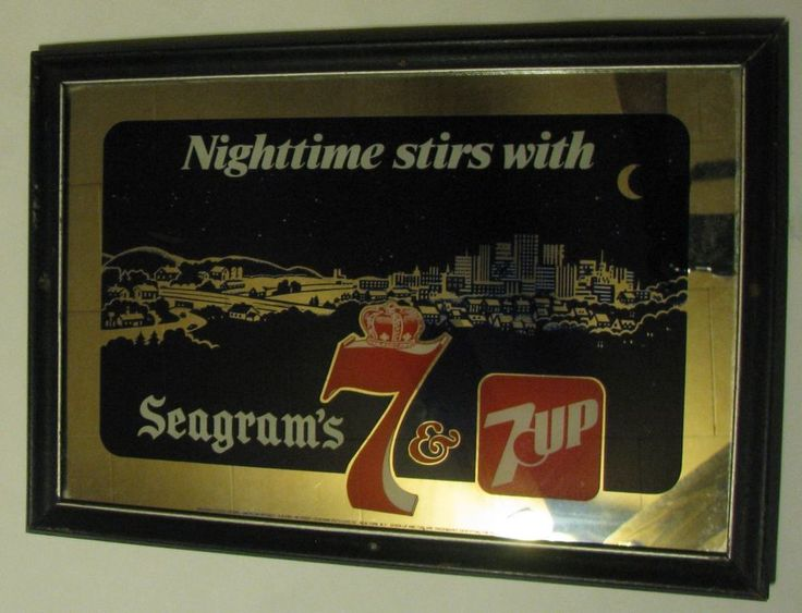 Vintage Nighttime Stirs With Seagrams 7 & 7up Mirror Sign