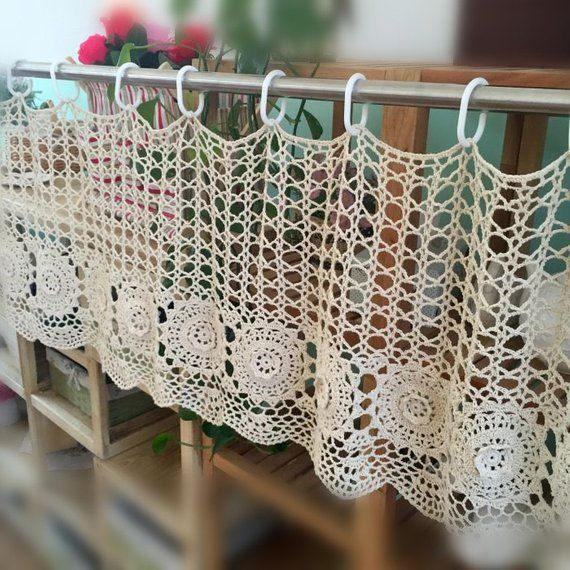 Country living hand crocheted curtain, handmade coffee curtain, door curtain, half curtain for window treatment ~ Nice gift for Mom