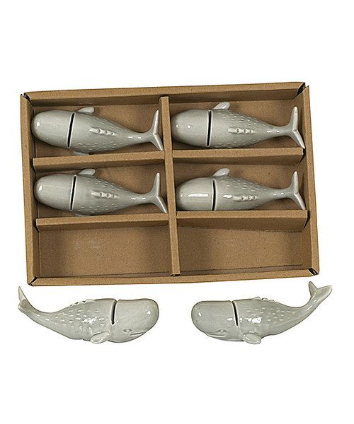 Look at this Ceramic Whale Name Card Holders - Set of Six on #zulily today!