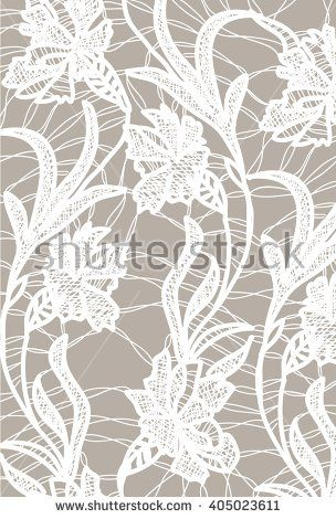 White bobbin lace vector texture leafs background for all. Eps10 - stock vector #lace #bobbin #vector #shutterstok  #illustration #wedding  #retro #vintage