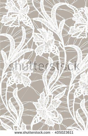 White bobbin lace vector texture leafs background for all. Eps10 - stock vector #lace #bobbin #vector #shutterstok  #illustration #wedding  #retro #vintage