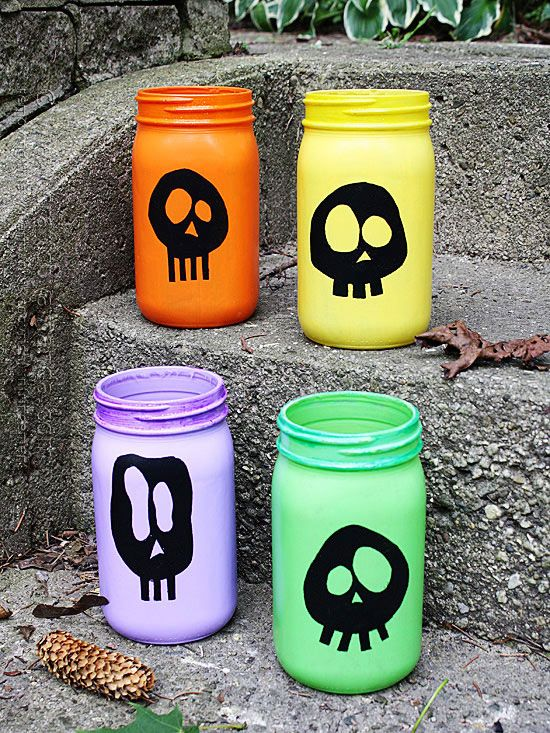 How cool! We love the look of these Colorful Skull Luminaries: http://www.bhg.com/halloween/outdoor-decorations/halloween-outdoor-makeover/?socsrc=bhgpin091614colorfulskullluminaries&page=2