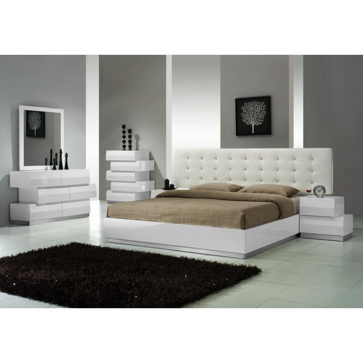 Milan 5 PC Bedroom Set In White Lacquered Finish, Ju0026M Furniture   Modern  Manhattan