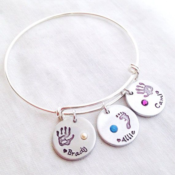 Hand Stamped  Charm Bangle Bracelet , Personalized Custom Footprint or Handprint with Birthstone Pendant Jewelry, Gift for Mom