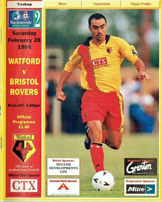 Watford 3 Bristol Rovers 2 in Feb 1998 at Vicarage Road. The programme cover #Div3