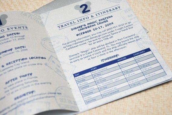Cruise Wedding Invitations: Disney Cruise Passport Wedding Invitation (Navy And Silver