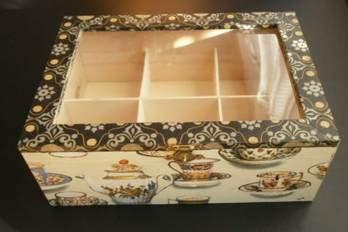Tea Box Caddy Decoupage Vintage Cups Teapot Black Ornament Gold Wood Artby Yany | eBay