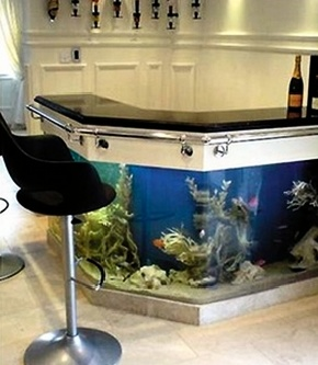 Fish Tank Wet Bar/ cant you see someones feet going into fish tank... hmmm not a good idea