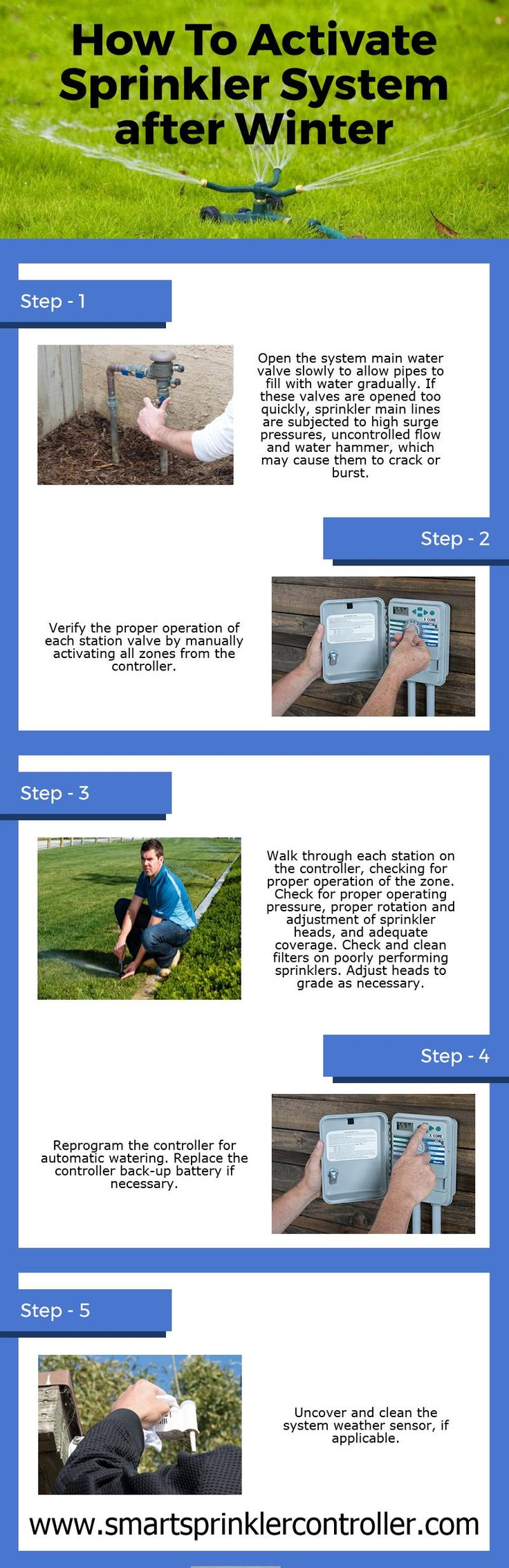 You all know winter season ends and spring emanates, then it's time to activate your #irrigationsystems and start watering again. In this infographic, I have listed five step for starting your garden #sprinklersystem after winter. https://www.smartsprinklercontroller.com/how-to-turn-on-sprinkler-system-spring/