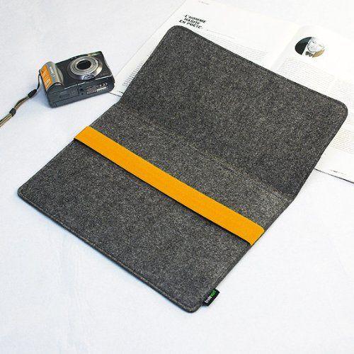 "Amazon.com: Lavievert Grey Felt Case Bag Sleeve with Yellow Elastic Band for Apple 13"" MacBook Air / 13"" MacBook Pro"