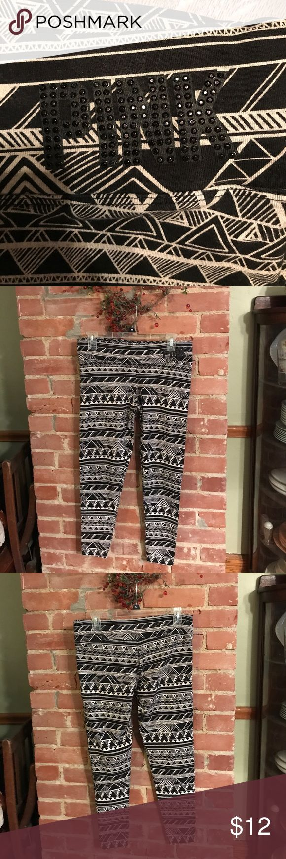 PINK Aztec Leggings PINK yoga waisted, ankle length, Aztec printed leggings. Love the comfort & quality of these. Normal wear. No holes. Smoke free home. PINK Victoria's Secret Pants Leggings