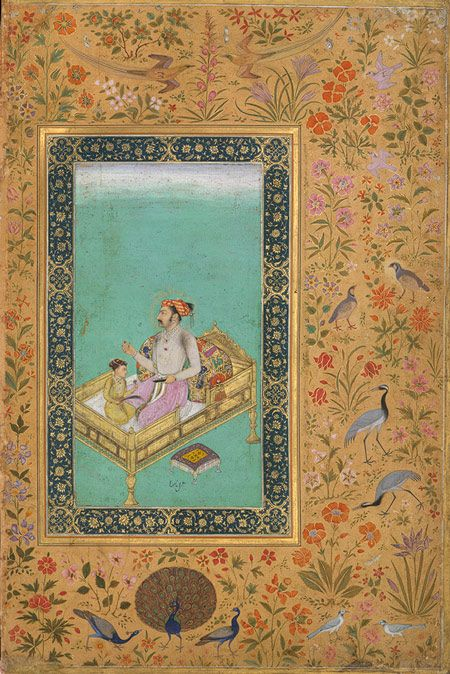 Prince Khurram (Shah Jahan) with His Son Dara Shikoh: Leaf from the Shah Jahan Album, Mughal, period of Jahangir (1605–27), ca. 1620 By Nanha India Ink, opaque watercolor, and gold on paper