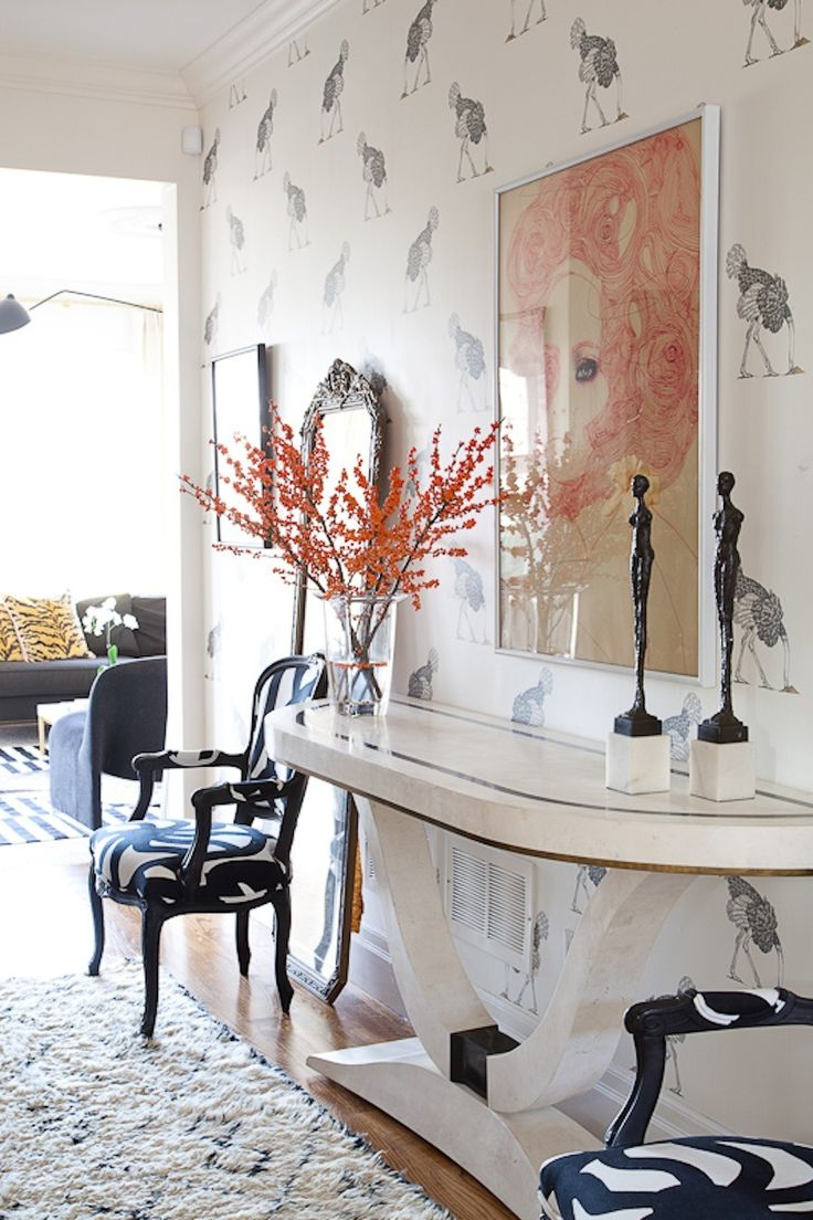 Christine Dovey I Love This Entryway In The Home Of Christine Dovey With  Its Ostrich Wallpaper, Beni Ourain Rug, Pair Of French Bergere .