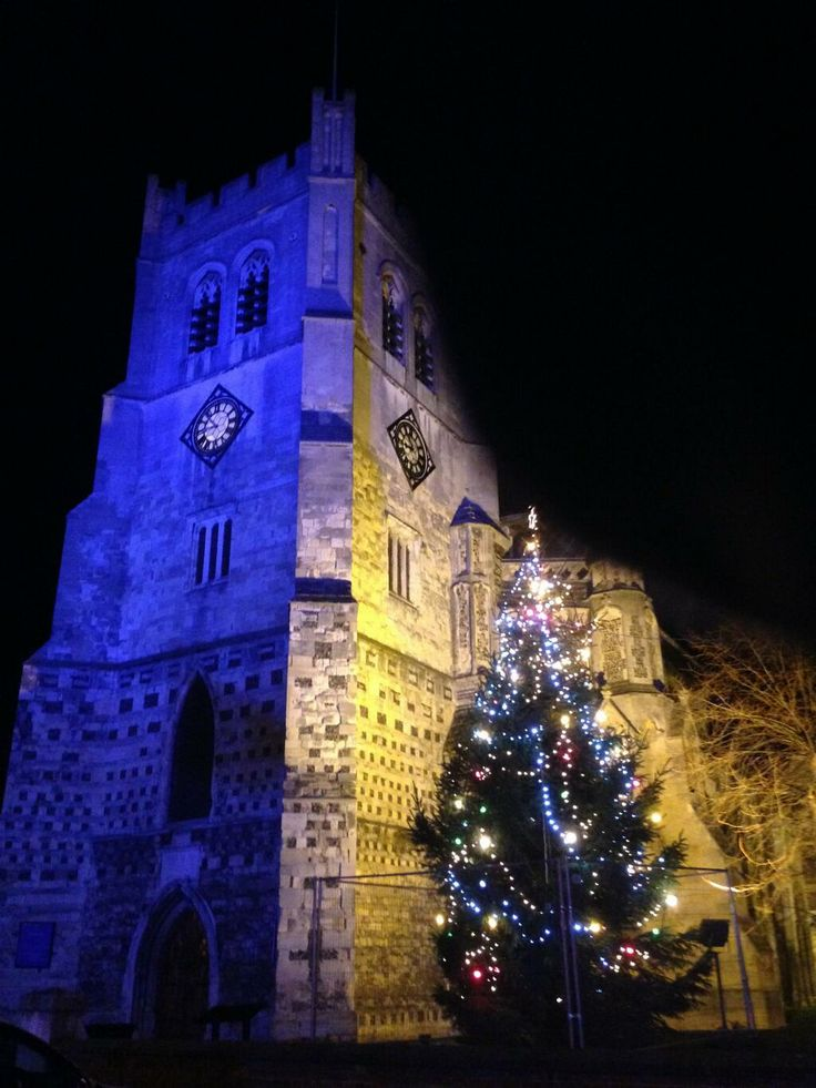 The heart of Waltham Abbey.  The church lit up for Christmas 2013.