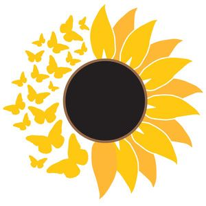 Butterfly Sunflower Cricut Silhouette Design Svg Files