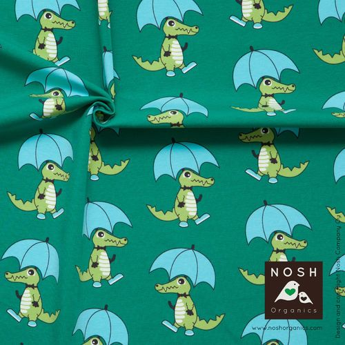 Green Croco Jersey, organic cotton