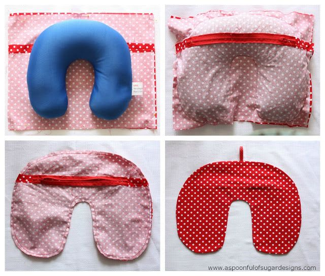Travel Neck Pillow Cover | A Spoonful of Sugar >easy tutorial with good photos  >like the idea of a zipper closure