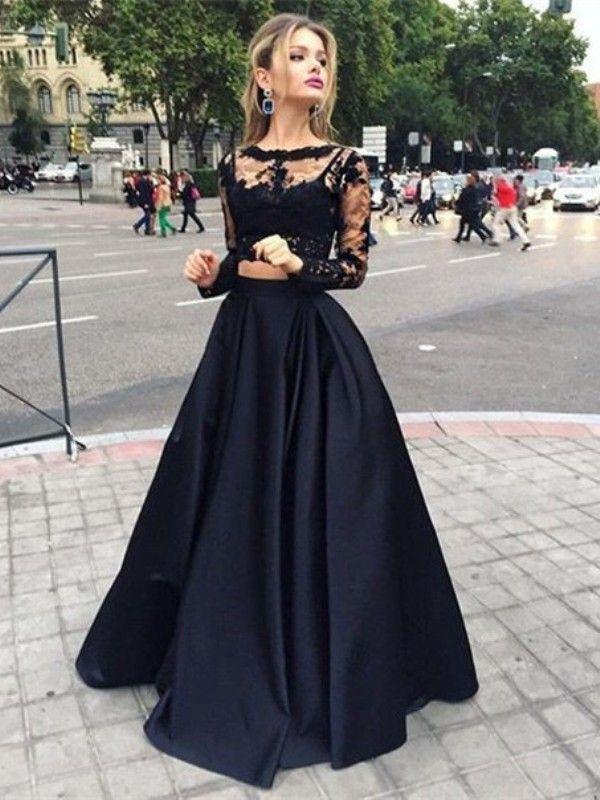 Ball Gown Long Sleeves Bateau Satin Floor-Length Dresses DressyWell