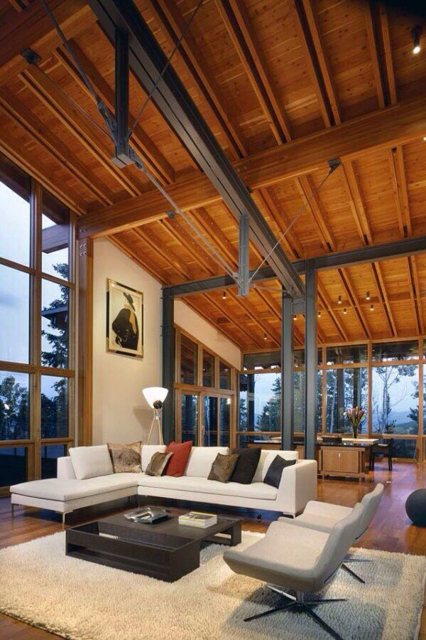 119 best research wooden structures images on pinterest for Steel beam house plans