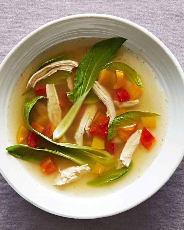 Green Thai Chicken Soup Recipe | Martha Stewart Living — Using store-bought broth, rotisserie chicken, and curry paste means you can get this vibrant, flavorful soup on the table in under half an hour.