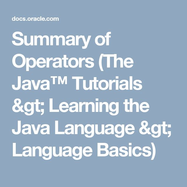 The 11 best web and apps development codes images on pinterest summary of operators the java tutorials learning the java language language basics fandeluxe Image collections