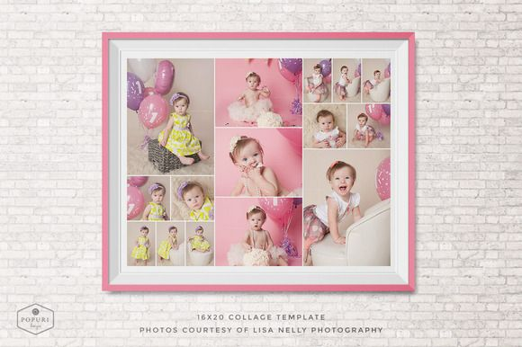 Check out 16x20 Photo Collage Board Template by Popuri Design on Creative Market